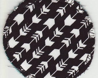 "3"" Cloth Round, Arrows, Black and White, Cup Spot, Cosmetic Round, Facial Wipe, Make-up Applicator, Cup Coaster, Cup Wipe, Scrubby"