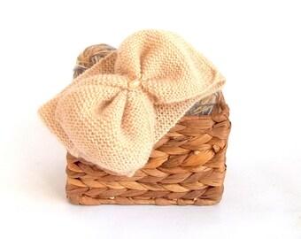 Turban Headband, Knit Head Wrap. Knitted Head Warmer. Soft Beige Color.