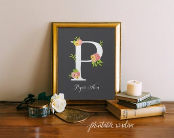 Nursery Letter Art Print Girl, Wall Decor, Nursery floral printable flower calligraphy monogram, Initial, custom digital Printable Wisdom