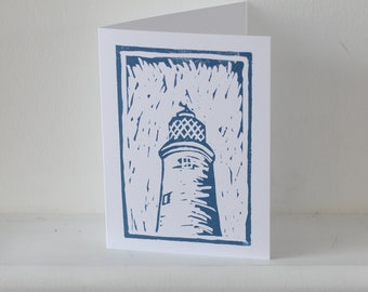 Southwold Lighthouse, A5 greetings card, digital print from original lino print, blank card and envelope