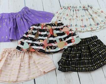 Baby Girl Skirt 1st Birthday Skirt Pink Gold Arrow Skirt Black Gold Arrow Skirt 2nd Birthday Skirt Black Stripe Floral Skirt Cream Arrow