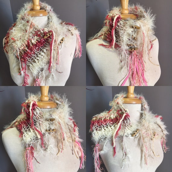 Handmade Knit Faux Fur and acrylic Choker with buttons, Dumpster Diva, pink choker, fashion, funky scarves, cowls, bohemian, neckwarmer