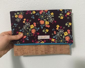 Floral and cork foldover clutch
