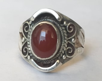 Sterling Silver Traditional Asian Vintage Style Carnelian Stone Ring Size K Gift