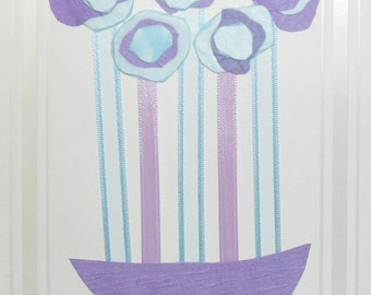 Original Handmade Lilac, Blue 5 Flower Art Card