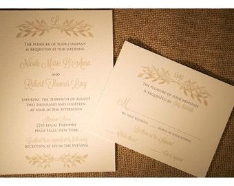 Rustic Branch Monogram Wedding - Olive Branch Spray in Monochromatic Style - Rustic Barn and Garden Wedding Invitation - Wedding Invites