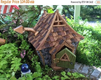 "SALE Fairy Garden House, Miniature Cottage, ""Shingletown Cottage"" With Hinged Open & Close Door, Miniature Gardening, Home and Garden Decor"