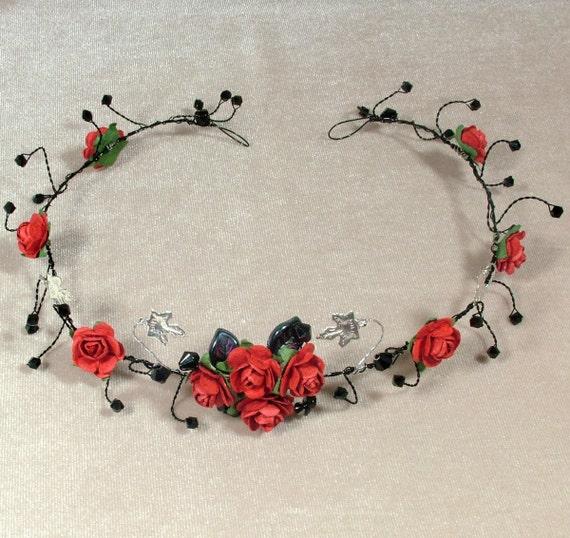 Gotische Tiara rote rose schwarzer Draht haarrebe schwarzen