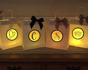 Wedding Luminaries, Luminary Centerpieces, Lanterns, Wedding Gifts, Favor, Bridesmaids, Guests, Handcrafted Gift Bag Sets 4, 8, 12, 20, 24