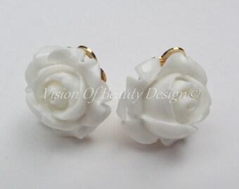 White Rose, Spring Flower Clip On Earrings