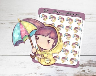 Planner Girl Stickers, Rain, Storm, Bad Weather 033