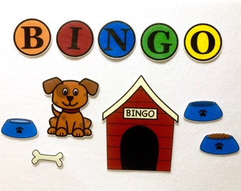 BINGO Dog Song - Felt Stories - Dog Pretend Play - Speech Therapy - Kid's Gift - Song Activity - Flannel Board Stories - Preschool Busy Bag