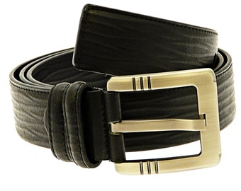 Men's Quality Black Leather Belt In Gift Box (Style No.20).
