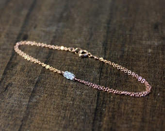 Rose Gold Birthstone Bracelet - Birthday Gift - Gift For Her - Personalized Jewelry - Birthstone Jewelry - Gemstone, Pearls