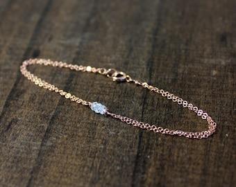 Rose Gold Birthstone Bracelet - Birthday Gift - Gift For Her - Personalized Jewelry - Birthstone Jewelry - Gemstone, Pearls