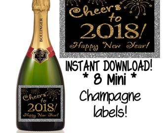 New Year's Mini Champagne Label, New Year's Wine Label, New Year's Eve, Cheers to the New Year, DIY INSTANT DOWNLOAD printable wine label