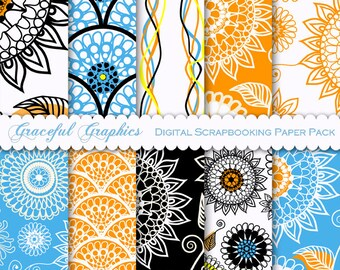 Scrapbook Paper Pack Digital Scrapbooking 10 Background Papers Swirls DOODLE Flowers Abstract Suns Orange Blue Black White 8.5 x 11 1662gg