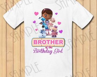 Disney Doc McStuffins Brother of the Birthday Girl INSTANT DOWNLOAD Personalized Matching birthday party shirts Iron on transfer Printable