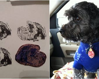 CUSTOM Pet Stamp Handcarved (unmounted) Dog / Cat / Small Animal / Pet Art