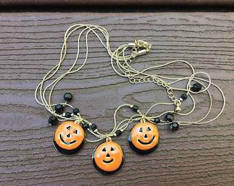 Vintage Jewelry Kenneth Cole Enamel Halloween Jack O'Lantern Pumpkin Necklace