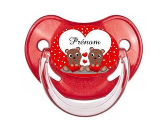 Heart and bear pacifier to personalized with name
