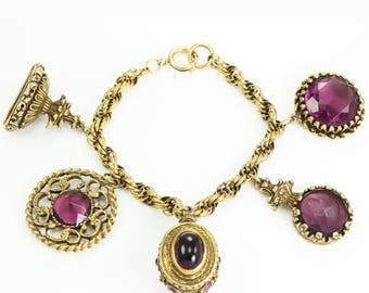 Vintage 1960's Watch Fob Charm Bracelet with Faux Gemstones Purple Glass and Gold Tone