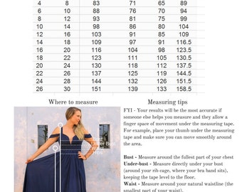 Sunsara Size and Length Guide (Not For Sale)