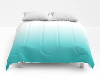 Turquoise ombre comforter Teal gradient comforter Teal bedding Turquoise bedding Teal ombre comforter turquoise decor Turquoise gradient
