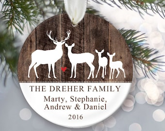 Deer Family of four Ornament - Deer Ornament - Personalized Christmas Ornament - Family of 4 Custom Ornament - Family Name Ornament OR777