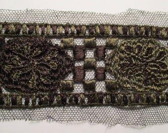 Antique Net Lace Edwardian Embroidered Trim