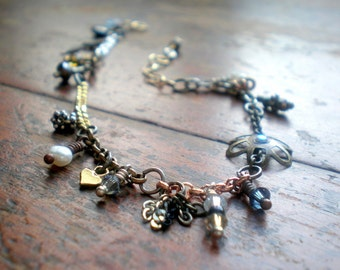 Mixed Metal Charm Bracelet   Handmade Charms & Danglies   Eclectic Elements   Unique Gift Idea   Birthday Girlfriend Wife   Made In Israel