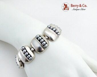 SaLe! sALe! Modernist Cultured Pearl Link Bracelet Sterling Silver Michael Bromberg
