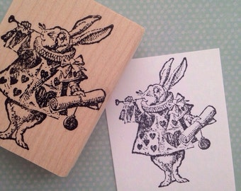 The White Rabbit  Alice in Wonderland Rubber Stamp