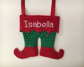 Elf Stocking-Elf Pants-Embroidered stocking-Personalized