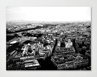 Vintage Inspired Black and White Paris Photography -  16 x 20 Canvas Print - Home Decor - Bedroom Wall Art - Travel Enthusiast - Wall Art