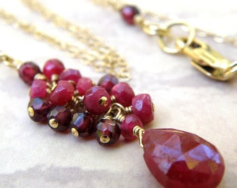 Cluster Ruby Necklace, Gold Filled, Red Gemstone, Stone Pendant, Natural July Birthstone, Birthday Wedding Handmade Jewelry