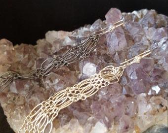 STERLING SILVER  925 DANGLING chains  earrings.