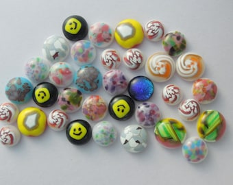 Fused Glass Millefiori Mini Cabs - Cabochons - Lampwork Beads - Fused Glass - Flower Beads - Glass Bead - Findings 5234