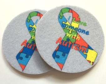 Set of two super absorbent support Autism car coasters for your car cup holder - Free Shipping - I love Someone with Autism car coasters