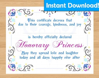 INSTANT DOWNLOAD!  Anna/Frozen Inspired Princess Certificate - For Coronation Ceremony, Birthday Gift, Party Favors