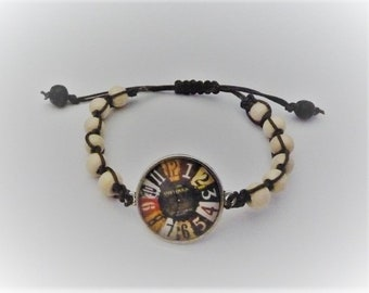 Woven Bracelet: pearls and fake watch
