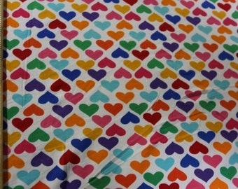 Robert Kaufman Colorful Rainbow hearts Cotton Lycra Knit Fabric