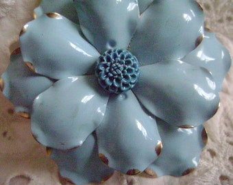 Vintage Brooch Mid Century, Costume Jewelry, Light Blue Enamel Floral Brooch Silver Tips