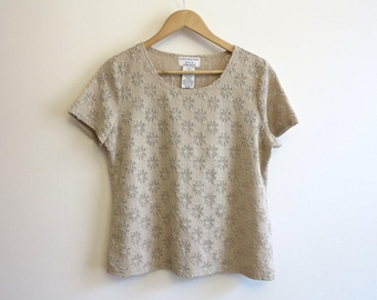Tan Beige Floral Jersey Lace Top Short Sleeve Stretch Womens Fitted Top Large Size