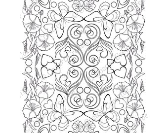 Adult coloring page, kaleidoscope, flower, butterfly, swirl, petunia, morning glory, heart. Spring Flowers. PDF