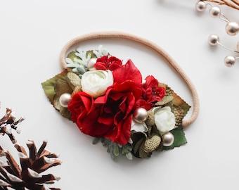 Omijo Christmas Inspired Headband - Christmas Flower Crown - Holiday Headband - Christmas Headband - Red Headband - Christmas Halo - Flower