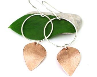 Hoop and Leaf Dangle Earrings Handmade in Sterling Silver and Copper Mixed Metal Long Drop Dangle Nature Earrings, Modern Jewellery
