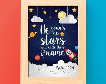 Christian Wall Art / He counts the stars and calls them all by name / Scripture art / Scripture print / Inspirational print / Quote print