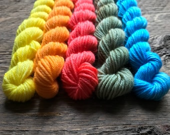Hand Dyed Sock Yarn Mini Skein Set--- 40 Yard Tonal #1 --- 5 Mini Skeins/40 Yards Each