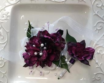 Corsage and Boutonniere Set  Dark Purple Wrist Corsage and Matching Boutonniere  Artificial Flowers  Prom Set